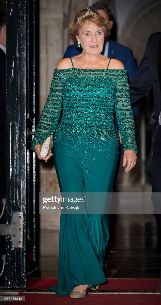 Princess Margriet of The Netherlands leave after the gala dinner for the Corps Diplomatic at the Royal Palace on May 23, 2017 in Amsterdam, Netherlands.