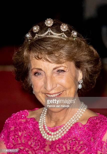 Princess Margriet of The Netherlands leaves the Royal Palace after the annual gala diner for the Diplomatic Corps on April 09, 2019 in Amsterdam,...