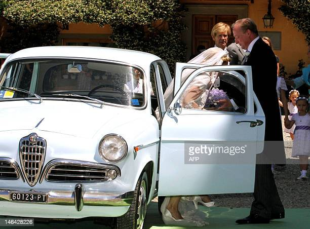 Princess Maria Carolina de Bourbon-Parme arrives on June 16, 2012 with her brother Carlos Javier for her royal wedding with Albert Brenninkmeijer at...