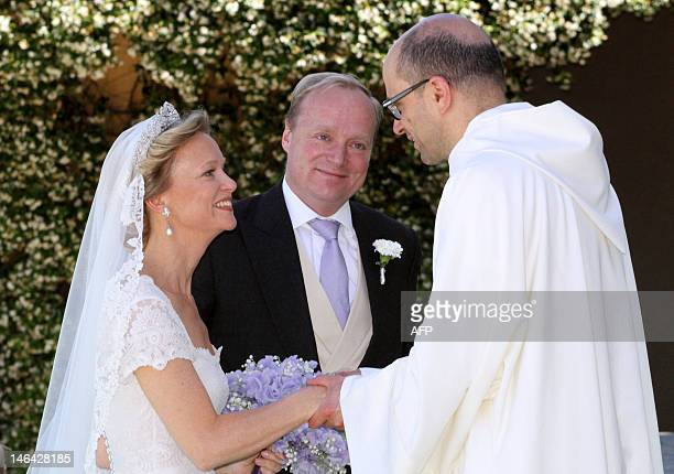 Princess Maria Carolina de Bourbon-Parme is greeted on June 16, 2012 as she arrives with her brother Carlos Javier for her royal wedding with Albert...