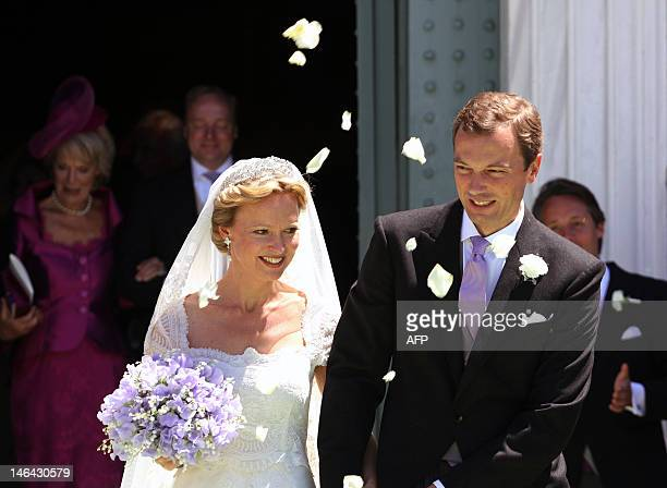 Princess Maria Carolina of Bourbon-Parma leaves the church with her husband Albert Brenninkmeijer following their wedding ceremony at San Miniato al...