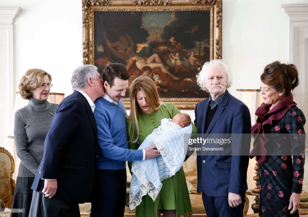 Princess Maria da Gloria, Crown Prince Aleksadar Karadjordjevic, Prince Philip Of Serbia, Danica Marinkovic, Milan Cile Marinkovic and Beba Marinkovic during the presentation of Prince Philip Of Serbia and wife Danica Marinkovic's newborn son Stefan at Royal Palace on March 2, 2018 in Belgrade, Serbia.