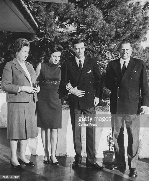Princess Maria del Pilar de Borbon and her husband-to-be Don Luis Gomez-Acebe pictured with the Count and Countess of Barcelona following the...
