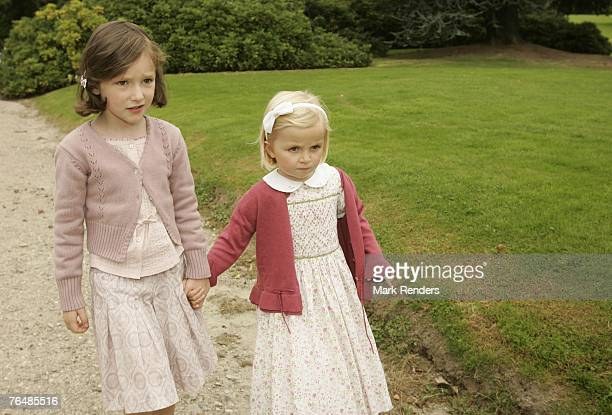 Princess Maria Laura and Princess Laetitia from Belgium assist a party for Queen Paola's 70th birthday at Laeken Castle on September 02 2007 in the...