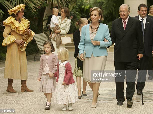 Princess Maria Laura and Princess Laetitia with Queen Paola and King Albert from Belgium assist a party for Queen Paola's 70th birthday at Laeken...