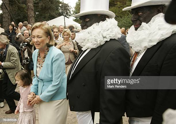 Princess Maria Laura and Queen Paola from Belgium assist a party for Queen Paola's 70th birthday at Laeken Castle on September 02 2007 in the Belgian...
