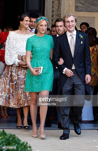 Princess Maria Laura of Belgium and Prince Joachim of Belgium attend the wedding of Prince Amedeo Of Belgium and Elisabetta Maria Rosboch Von...