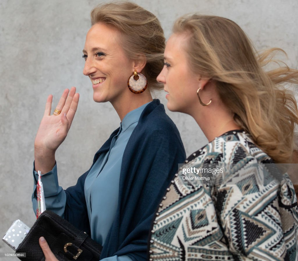 Princess Maria Laura of Belgium and Princess Louisa Maria of Belgium a the mass to remember the 25th anniversary of the death of King Baudouin at Notre Dame Church on September 8, 2018 in Laeken, Belgium.