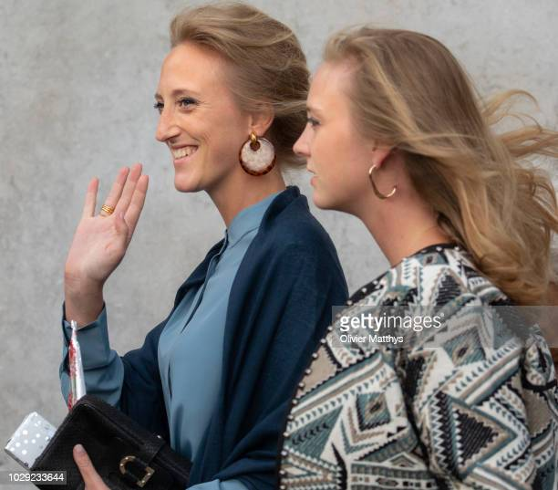 Princess Maria Laura of Belgium and Princess Louisa Maria of Belgium a the mass to remember the 25th anniversary of the death of King Baudouin at...