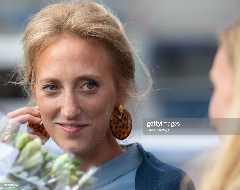 Princess Maria Laura of Belgium leaves a the mass to remember the 25th anniversary of the death of King Baudouin at Notre Dame Church on September 8, 2018 in Laeken, Belgium.