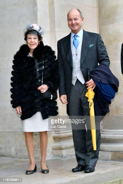 Princess Maria Pia de savoie and her son Dimitri de Yougoslavie attend the Wedding of Prince Jean-Christophe Napoleon and Olympia Von Arco-Zinneberg...