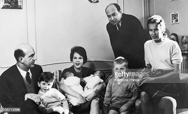 Princess Maria Pia Of Yugoslavia Posing With Her Husband Prince Alexander Of Yugoslavia And Their Children Twin Brothers Dimitri And Michael And Twin...