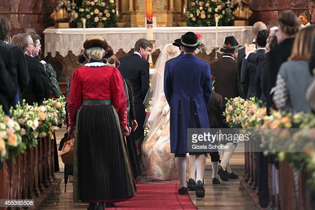 Princess Maria Theresia von Thurn and Taxis and her husband Hugo Wilson attend the wedding of Maria Theresia Princess von Thurn und Taxis and Hugo...