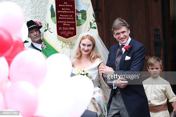 Princess Maria Theresia von Thurn und Taxis and her husband Hugo Wilson attend the wedding of Maria Theresia Princess von Thurn und Taxis and Hugo...