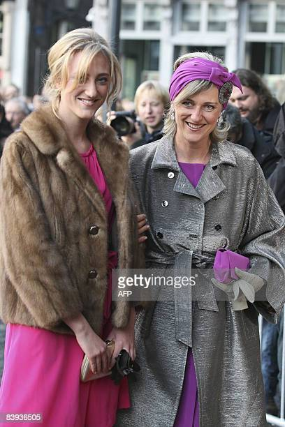 Princess MariaLaura and Princess Astrid of Belgium arrive at the Mechelen City Hall for the wedding of Archduchess Maria Christina of Austria and...
