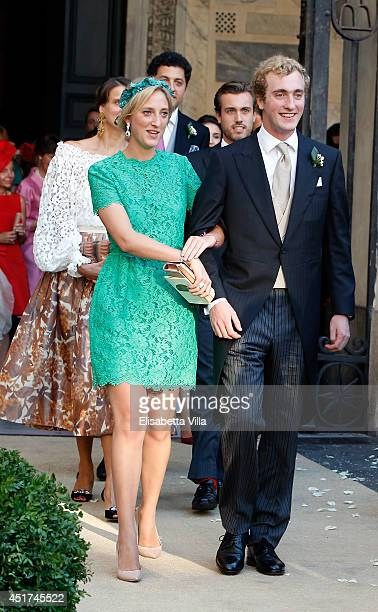 Princess MariaLaura of Belgium and Prince Joachim of Belgium attend the wedding of Prince Amedeo Of Belgium and Elisabetta Maria Rosboch Von...