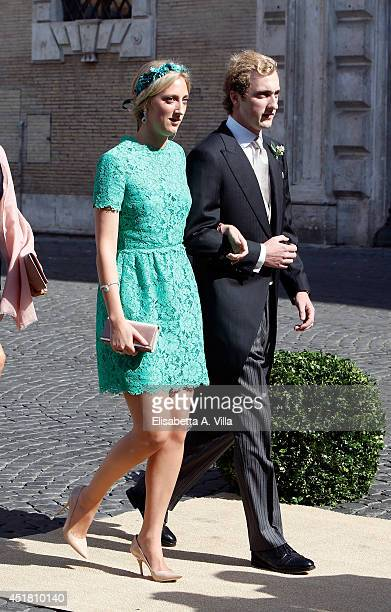 Princess MariaLaura of Belgium and Prince Joachim of Belgium attends the wedding of Prince Amedeo of Belgium and Elisabetta Maria Rosboch Von...