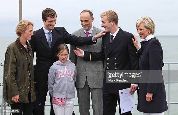 Princess MariaLaura Prince Amadeo Princess Laetitia Prince Lorenz and Princess Astrid congratulate Prince Joachim of Belgium on the ship GODETIA on...