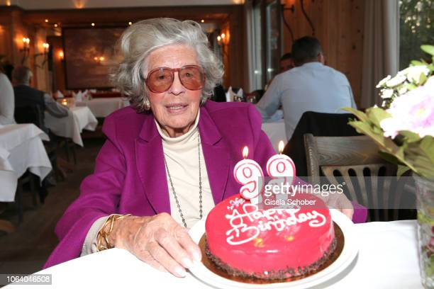 Princess Marianne Manni zu SaynWittgensteinSayn known as photographer Mamarazza admires a birthday cake during a photo shooting ahead of her 99th...