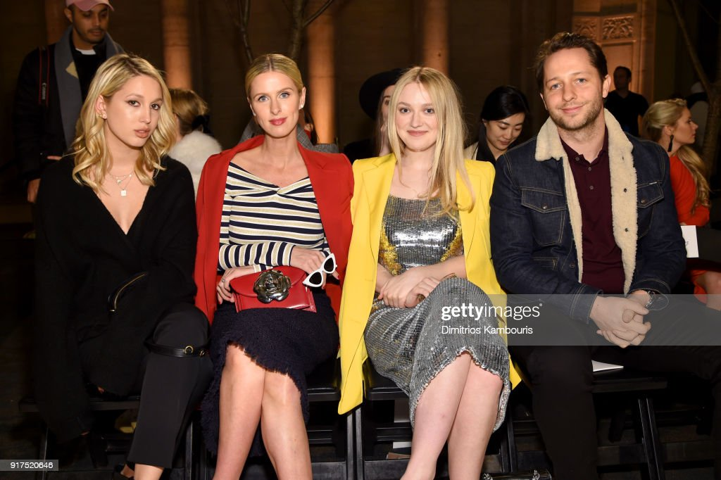 Princess Maria-Olympia of Greece and Denmark, Nicky Hilton, Actor Dakota Fanning and Derek Blasberg attends the Oscar De La Renta fashion show during New York Fashion Week: The Shows at The Cunard Building on February 12, 2018 in New York City.