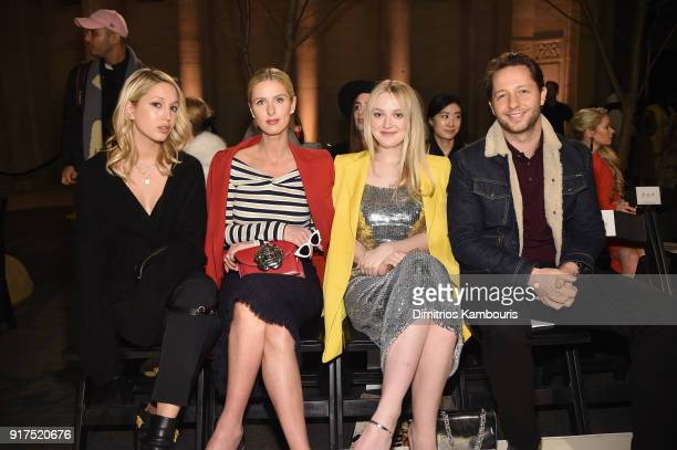 Princess MariaOlympia of Greece and Denmark Nicky Hilton Actor Dakota Fanning and Derek Blasberg attends the Oscar De La Renta fashion show during...