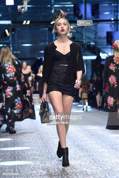 Princess MariaOlympia of Greece and Denmark walks the runway at the Dolce Gabbana show during Milan Fashion Week Fall/Winter 2017/18 on February 26...