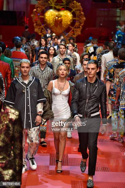 Princess MariaOlympia of Greece and Denmark walks the runway at the Dolce Gabbana show during Milan Men's Fashion Week Spring/Summer 2018 on June 17...