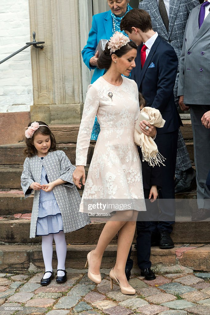 Princess Marie and daughter Princess Athena after Prince Felix' confirmation on April 1, 2017 in Fredensborg, Denmark. Prince Felix is 14 years old and number 8 in succession to the throne.
