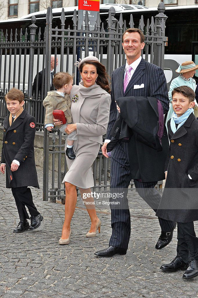 Princess Marie and Prince Joachim of Denmark arrive with Prince Felix (L), Prince Nikolai (R) and Prince Henrik arrive to attend the christening of Crown Prince Frederik of Denmark's twins at Holmens Kirke on April 14, 2011 in Copenhagen, Denmark.