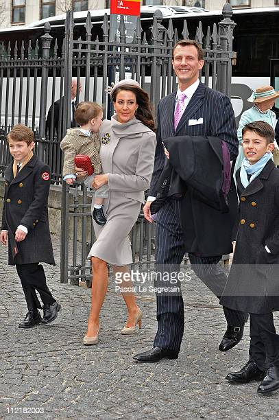 Princess Marie and Prince Joachim of Denmark arrive with Prince Felix Prince Nikolai and Prince Henrik arrive to attend the christening of Crown...