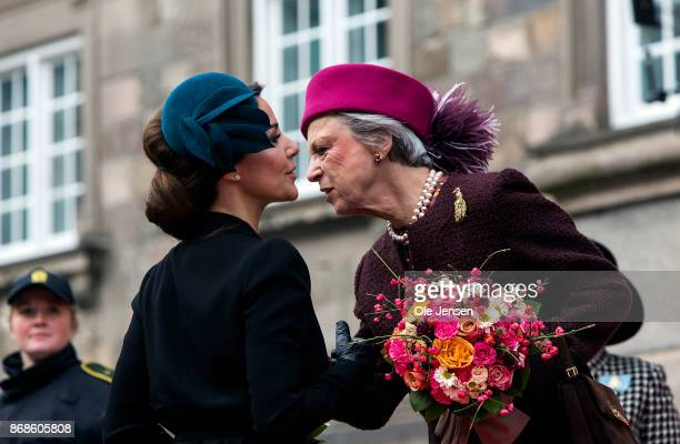 Princess Marie and Princess Benedikte seen at their arrival to the Parliament to celebrate the Reformation's 500th anniversary on October 31 2017 in...