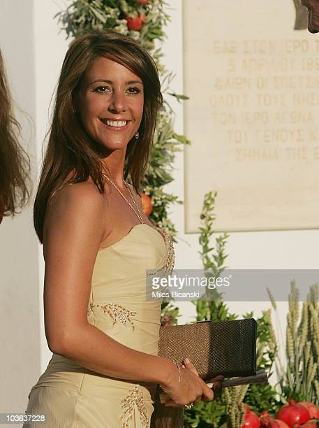 Princess Marie arrive for the wedding of Prince Nikolaos and Miss Tatiana Blatnik at the Cathedral of Ayios Nikolaos on August 25, 2010 in Spetses,...