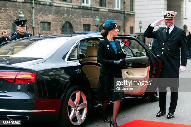 Princess Marie arrives to the Parliament to celebrate the Reformation's 500th anniversary and is received by the Speaker of the House Pia Kaersgaard...