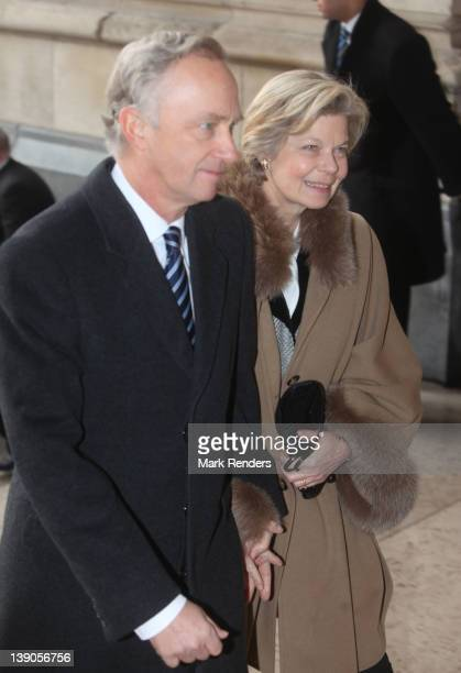 Princess Marie Astrid of Luxembourg and her husband Archduke Carl Christian of Austria attend a Memorial Mass for deceased Belgian Royals at Eglise...