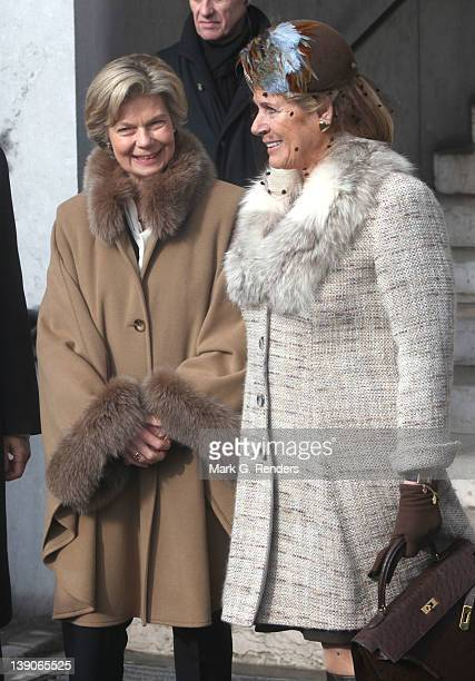 Princess Marie Astrid of Luxembourg and Princess Esmeralda of Belgium attend a memorial Mass for deceased Belgian Royals at Eglise NotreDame de...