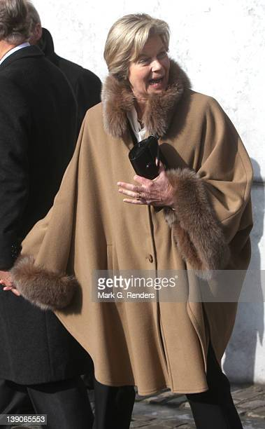 Princess Marie Astrid of Luxembourg attends a memorial Mass for deceased Belgian Royals at Eglise NotreDame de Laeken on February 16 2012 in Laeken...