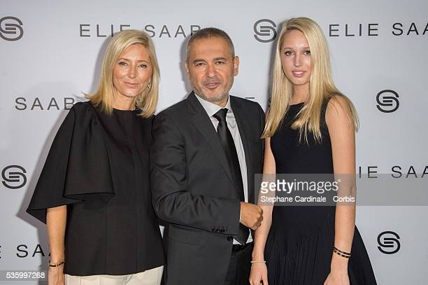 Princess Marie Chantal of Greece Elie Saab and Princess Olympia of Greece in backstage at the Elie Saab show during the Paris Fashion Week Haute...