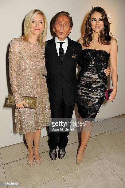 Princess Marie Chantal of Greece Valentino Garavani and Elizabeth Hurley attend a private view of 'Valentino Master Of Couture' exhibiting from...