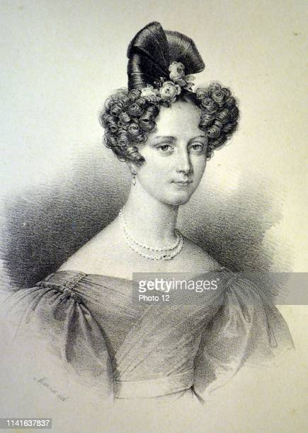 Princess Marie Christine of Orleans second daughter of Louis Philippe I of France, wife of Duke Alexander of Wurttemberg. Lithograph, Paris, c1840.