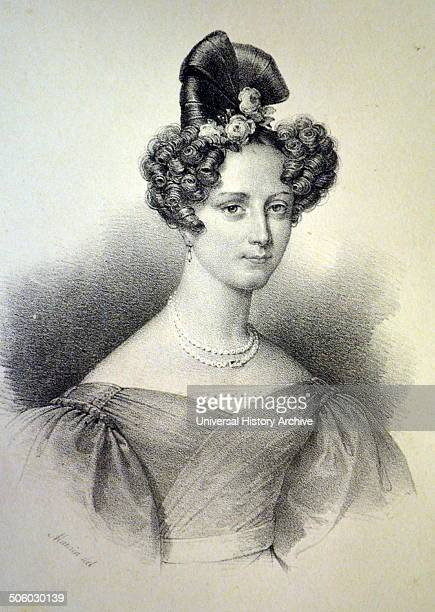 Princess Marie Christine of Orleans second daughter of Louis Philippe I of France wife of Duke Alexander of Wurttemberg Lithograph Paris c1840 Photo...