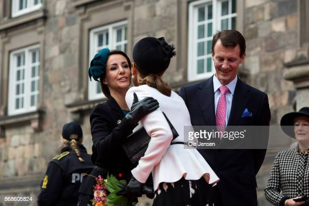 Princess Marie Crown Princess Mary and Prince Joachim seen at their arrival to the Parliament to celebrate the Reformation's 500th anniversary on...