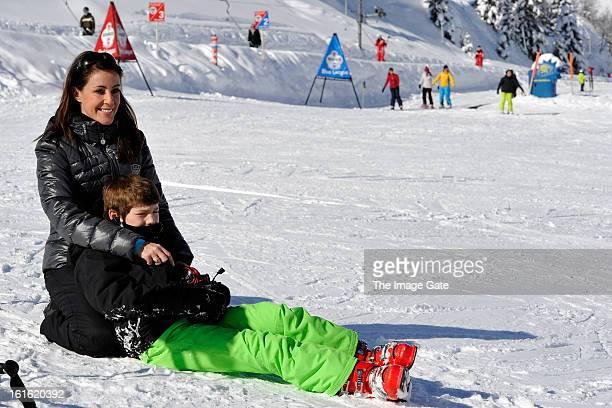 Princess Marie of Denmark and Prince Felix of Denmark meet the press whilst on skiing holiday in Villars on February 13 2013 in VillarssurOllon...