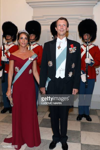 Princess Marie of Denmark and Prince Joachim of Denmark arrive for the state dinner at Christiansborg Palace in Copenhagen on August 28 2018