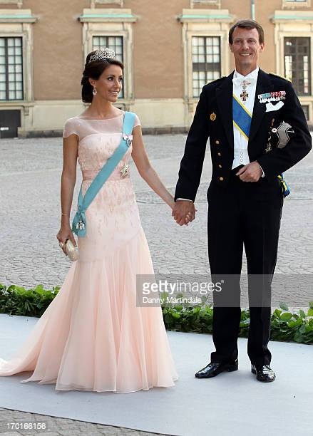 Princess Marie of Denmark and Prince Joachim of Denmark attend the wedding of Princess Madeleine of Sweden and Christopher O'Neill hosted by King...