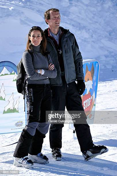Princess Marie of Denmark and Prince Joachim of Denmark attend the Danish Royal family annual skiing photocall whilst on holiday on February 10 2015...