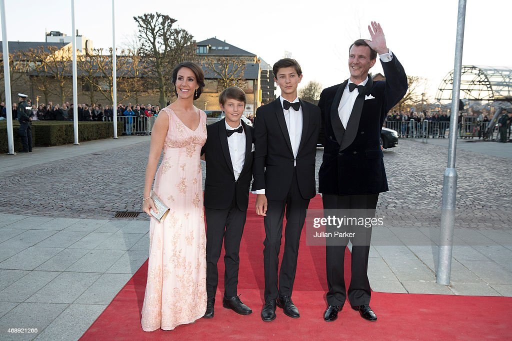 Princess Marie of Denmark, and Prince Joachim of Denmark with Prince Joachim's sons, Prince Felix and Prince Nikolai attend a Gala Night to mark the forthcoming 75th Birthday of Queen Margrethe II of Denmark at Aarhus Concert Hall on April 8, 2015 in Aarhus, Denmark.