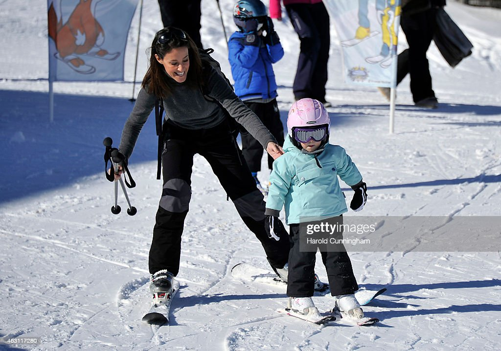 Princess Marie of Denmark and Princess Athena of Denmark attend the Danish Royal family annual skiing photocall whilst on holiday on February 10, 2015 in Col-de-Bretaye near Villars-sur-Ollon, Switzerland.