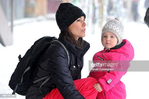 Princess Marie of Denmark and Princess Athena of Denmark meet the press whilst on skiing holiday in Villars on February 13 2014 in VillarssurOllon...