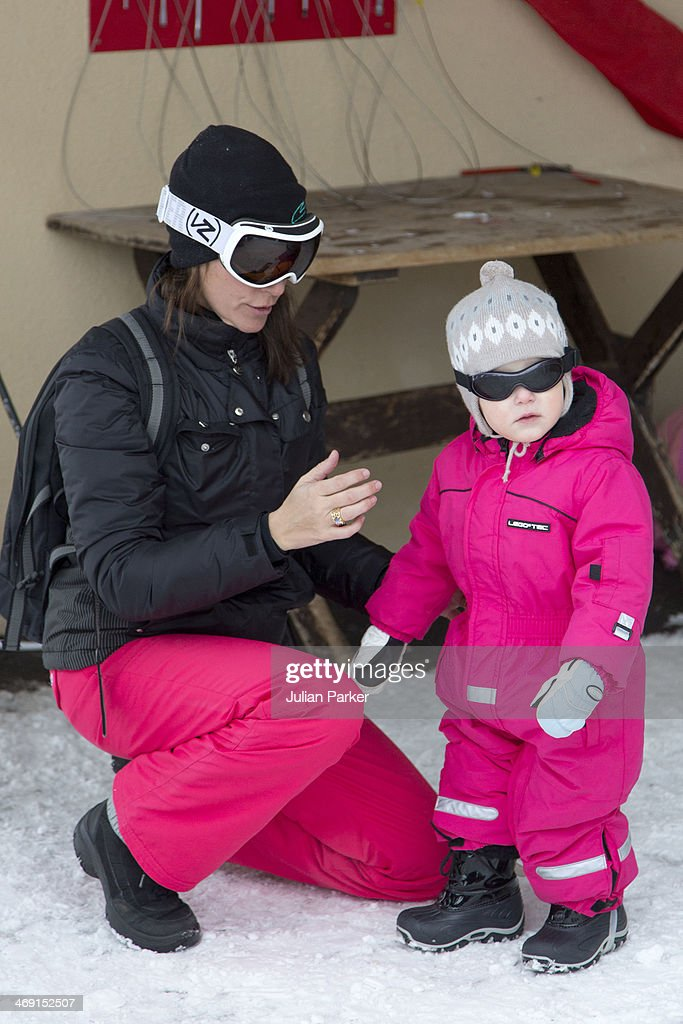 Princess Marie of Denmark and Princess Athena of Denmark poses during their annual winter family holiday photocall on February 13, 2014 in Villars-sur-Ollon, Switzerland.