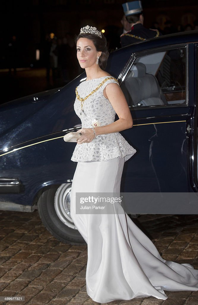 Princess Marie of Denmark arrives at the Traditional New Year's Banquet hosted by Queen Margrethe of Denmark, at, Amalienborg Palace, on January 1, 2014 in Copenhagen, Denmark.